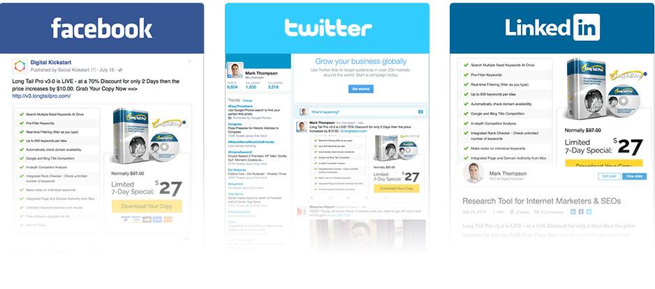 Social Kickstart social sharing functions